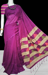 Delightful dark pink color soft moklin handloom saree
