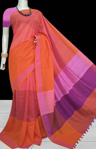 Orange color base cotton silk saree with pom-pom work on pallu