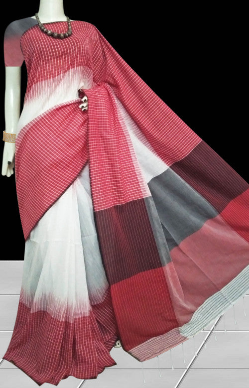 Red and white color combination cotton silk saree, decorated with gamcha design work