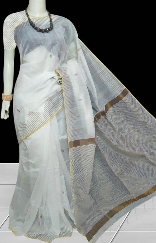 White base cotton silk saree with golden zari work