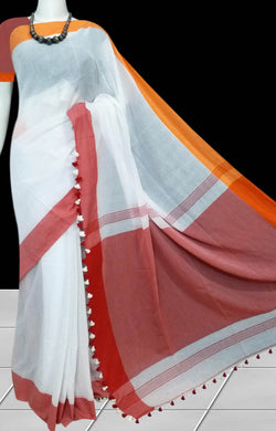 White base cotton saree with pompom work