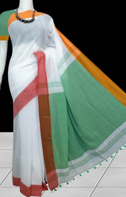 White base khadi saree in a smart combination with pompom or kodomjhuli work