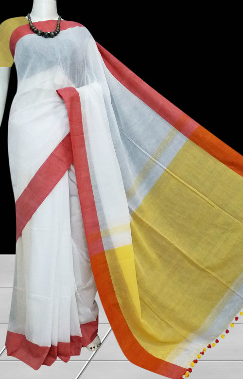 White base cotton hand finished saree
