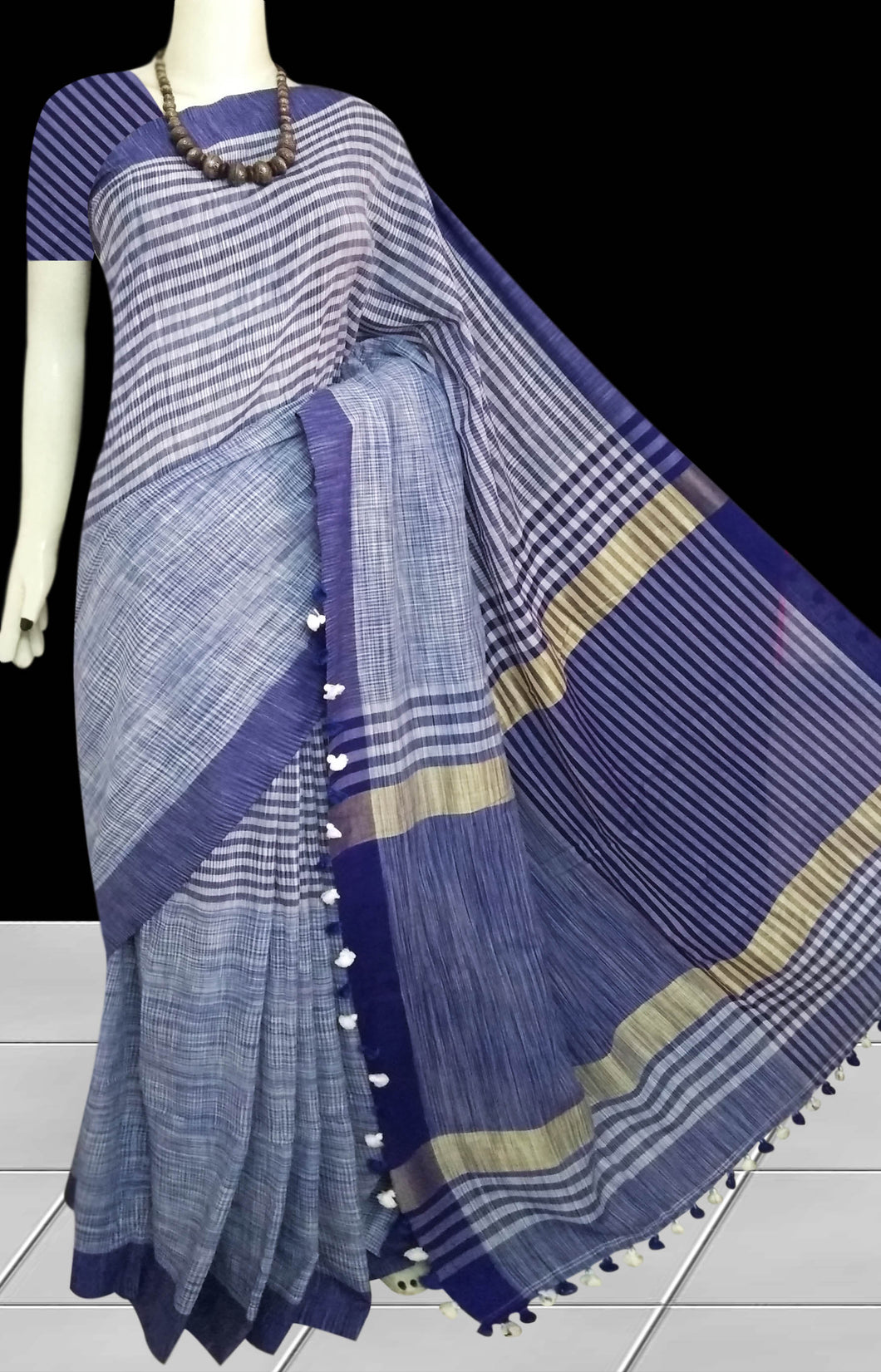 Exclusive Deep Blue Base Multicolored Mercerized Cotton Saree