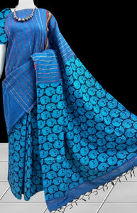 Ocean blue mulmul khesh gurjari cotton handloom saree