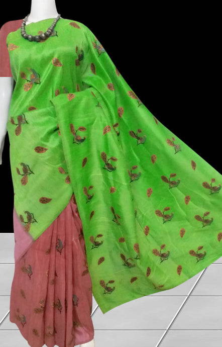 Delightful color combination art silk handloom saree