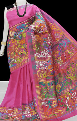 Lovely Pink Kantha stitch on Bangalore silk saree