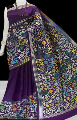 Violet Kantha stitch thread work with base on Bangalore silk saree