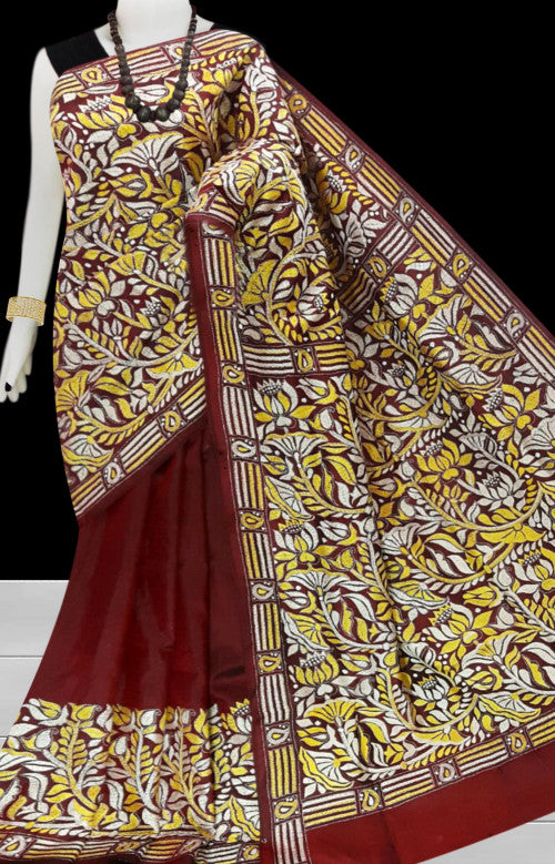 Maroon Kantha stitch thread work with base on Bangalore silk saree