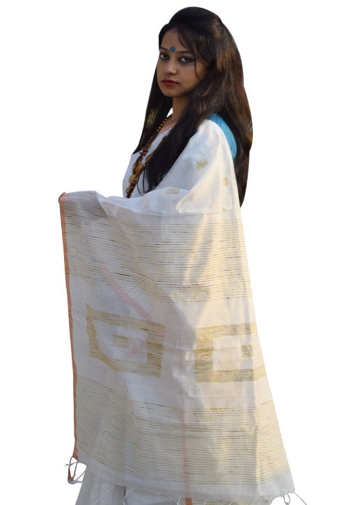 White Box Ghicha Cotton Silk Saree