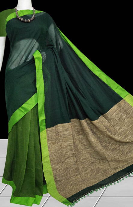 Matte green cotton silk saree