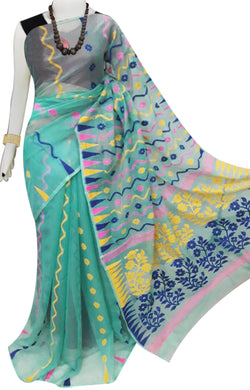 Green base color dhakai Jamdani cotton saree