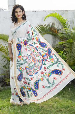 Elegant white color Kerala cotton saree with hand painted