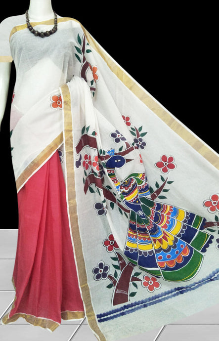 Luxurious pink & white half by half Kerala cotton saree with intricate hand paint