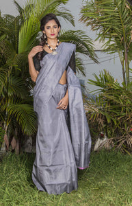 Stylish grey color double tone shade sonamukhi silk saree