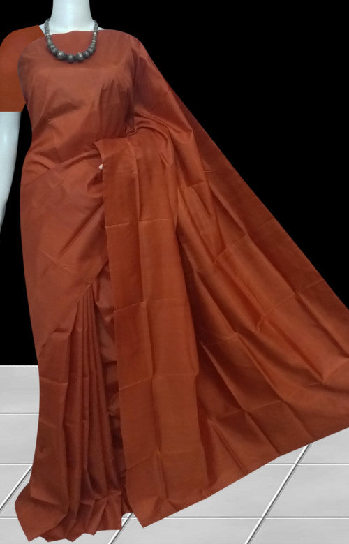 Coffee color double tone shade sonamukhi silk saree