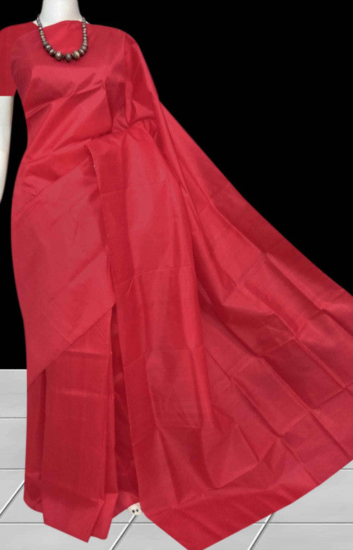 Sizzling red double tone shade Sonamukhi silk handloom saree