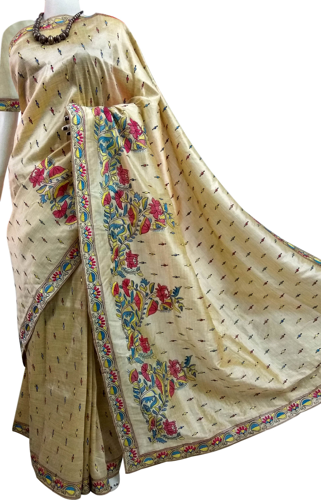 Cream color art Silk saree with floral embroidery work