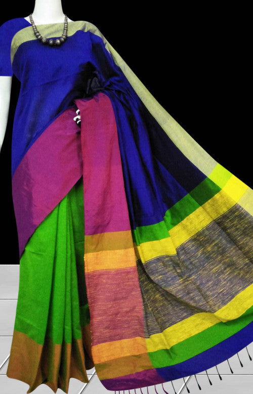 Multi color mahapar silk handmade saree with beautiful tassel