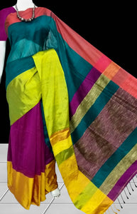 Multi Color Mahapar Silk Handloom saree with Beautiful Tassel