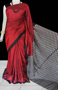 Red  Sonamukhi Silk Block Printed Saree