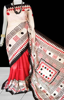 Red & White Sonamukhi Silk Block Printed Saree