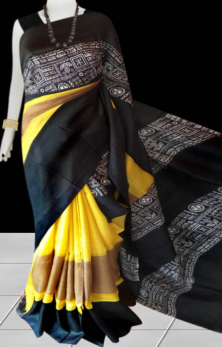 Black & Yellow Color Pure Sonamukhi silk block printed saree