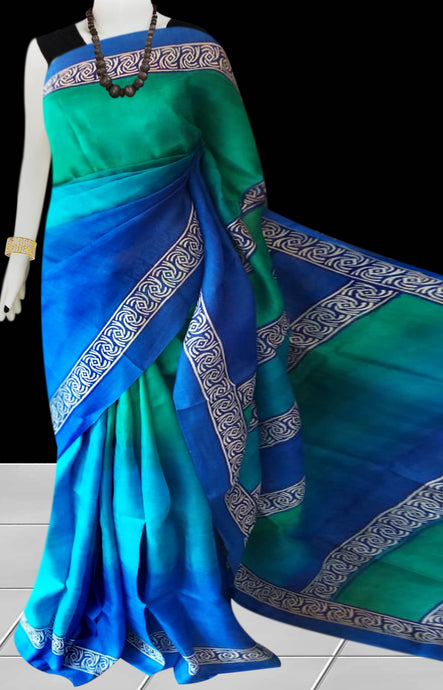 Blue & Green Color Pure Sonamukhi silk block printed saree