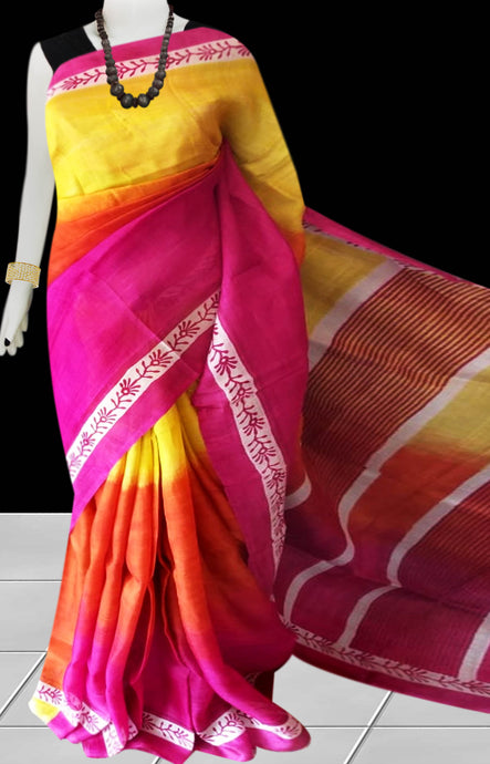 Pink, Orange & Yellow Color Pure Sonamukhi silk block printed saree