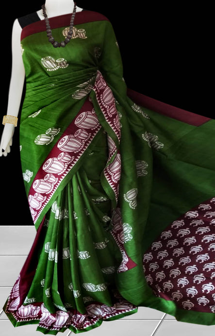 Bottle Green Color Pure Sonamukhi silk block printed saree