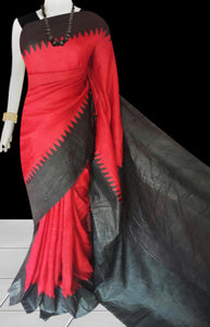 Black and red color combination sonamukhi silk saree with block print
