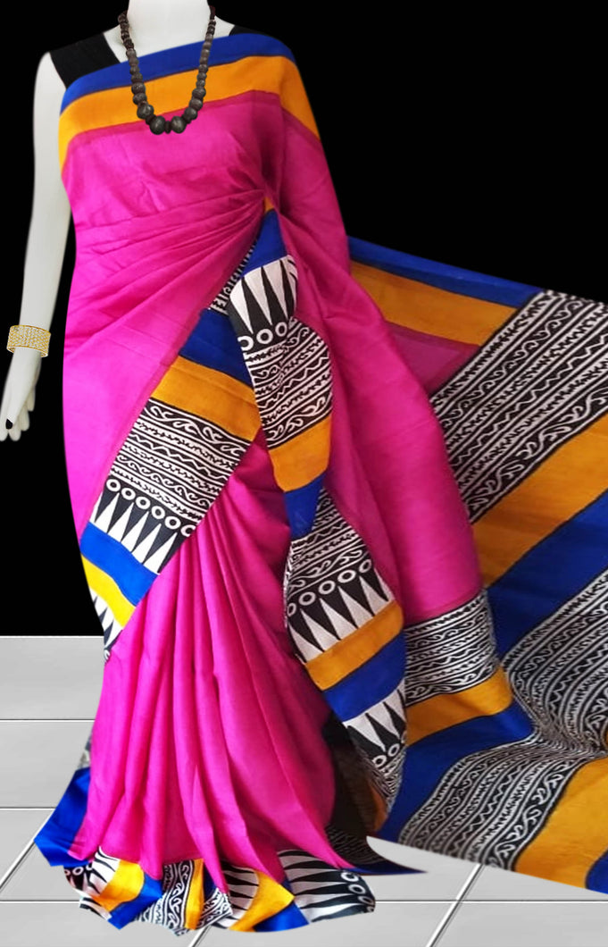 Pink Color Pure Sonamukhi silk block printed saree