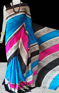 Sky Blue, Pink & Black Color Pure Sonamukhi silk block printed saree