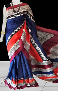 Navy Blue & Red Color Pure Sonamukhi silk block printed saree