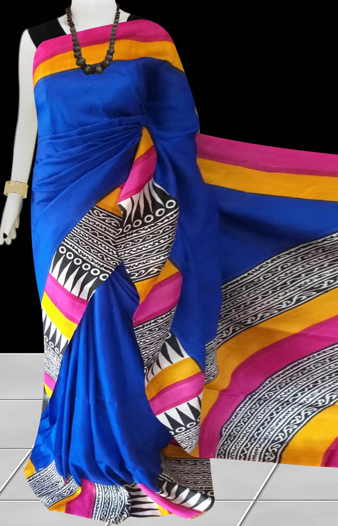 Royal Blue Color Pure Sonamukhi silk block printed saree