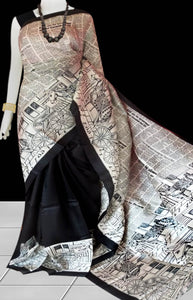 Black & White Color Pure Sonamukhi silk block printed saree