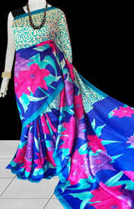 Blue & Pink Color Pure Sonamukhi silk block printed saree