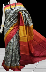 Multi Color Pure Sonamukhi silk block printed saree