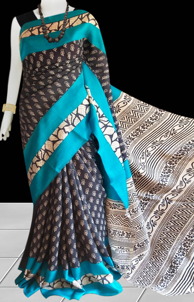 Grey, Sky blue & white Color Pure Sonamukhi silk block printed saree