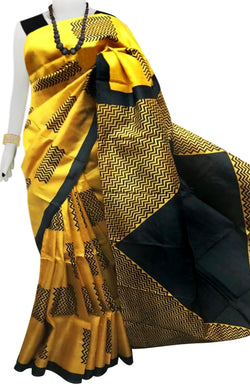 Mustard & Black Color Pure Sonamukhi silk block printed saree
