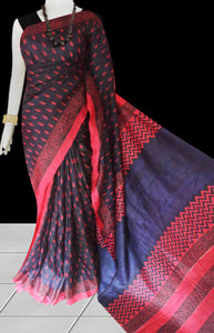 Navy blue and red color combination sonamukhi silk saree