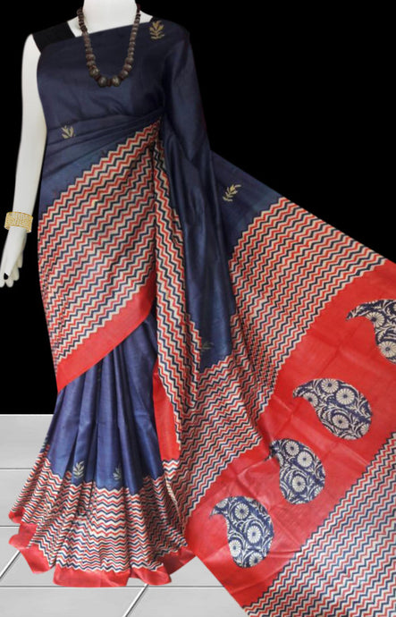 Blue color base sonamukhi silk saree with block print