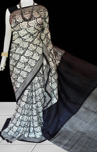 Black and white color sonamukhi silk saree with block print