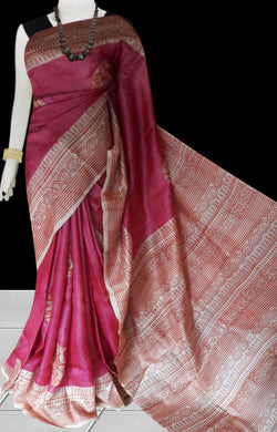 Pink color sonamukhi bengali silk saree