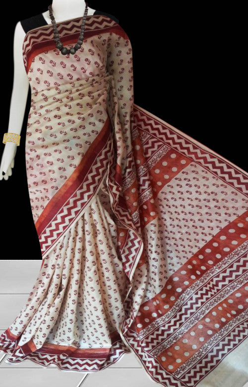 Cream color base sonamukhi silk saree with block print