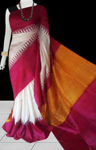 White and red color base sonamukhi silk saree with block print