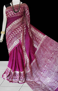 Pink color base sonamukhi silk saree with block print