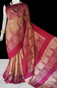 Beige color base sonamukhi silk saree with block print
