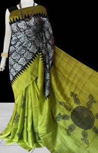 Green color base sonamukhi silk saree with block print