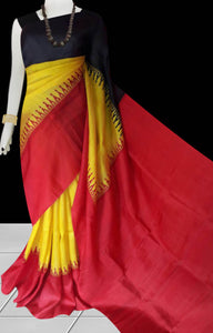Red, yellow and black color combination sonamukhi silk saree